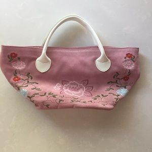 Pink Suede Embroidered Purse